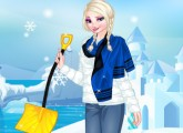 لعبة تلبيس الملكة السا ملابس الشتاء الجديدة