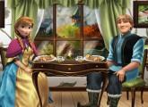 لعبة الاميرة آنا وكريستوف على العشاء