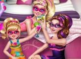 لعبة سوبر باربى وسهرة مع خواتها