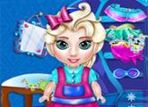 لعبة طفل إلسا تنظيف الخزانة