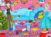 لعبة إلسا وآنا و تنظيف عيد الميلاد
