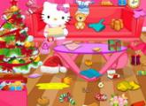 لعبة مرحبا كيتي تنظيف غرفة عيد الميلاد